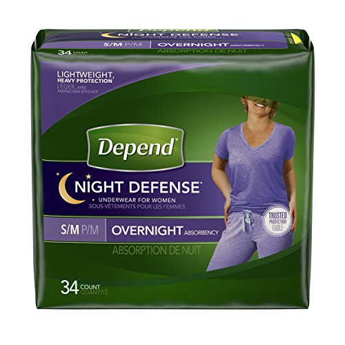 Depend Night Defense Incontinence Overnight Underwear for Women,  34 Count (Small/Medium)
