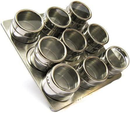 10 tlg Magnet Gewürzdosen  Gewürzboard Edelstahl