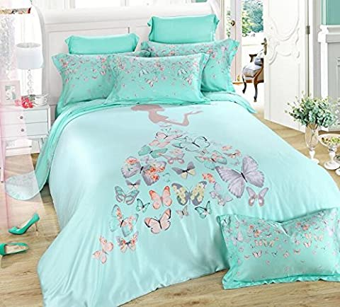 TheFit Paisley Textile Bedding for Adult U212 Pink Princes Girl Butterfly Duvet Cover Set 100% Tencel, Queen King Set, 4 Pieces (Queen)