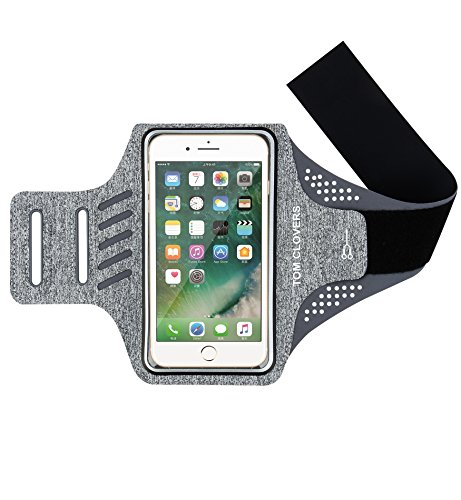 Tom Cable - Tom Clovers Adjustable Reflective Velcro Workout Cell Phone Armband Running Holder Fitness Arm Bag Pouch For iPhone X 8 7 7plus 6 6S SE 5 5C 5S Samsung Galaxy S5 Grey
