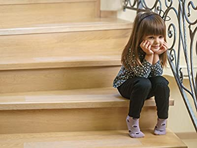 """Kenley Anti-slip Stair Treads – Pack of 10 Clear Non-slip Vinyl Strips 4""""x24"""" - Floor Grip Tape with Adhesive for Indoor & Outdoor Steps & Stairs - Fall Risk Prevention - Safety for Kids Elderly Pets"""