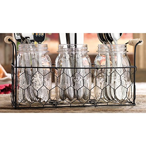 Home Essentials Country Chic Mason Jar Flatware Utensil Dinnerware Tableware Food Storage Holder Caddy in Wire Honeycomb Basket