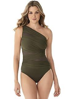 43350c457dbaf Miraclesuit Women's Swimwear Network JENA Asymmetrical Neckline Tummy  Control One Piece Swimsuit