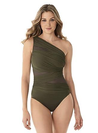 67b4342eafa Miraclesuit Women's Swimwear Network JENA Asymmetrical Neckline Tummy  Control One Piece Swimsuit, Olivetta, ...