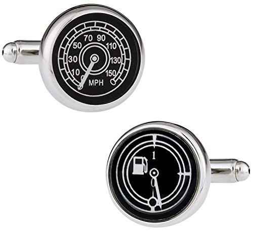 Cuff-Daddy Speedometer & Fuel Gauge Silver Automotive Car Cufflinks with Presentation ()