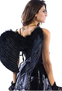 2794643ce0e Ladies White Black Red Pink Real Rainbow Feather Angel Fairy Wings Fancy  Dress Costume Outfit…
