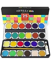 ARTEZA Ensemble Peinture Aquarelle Haut De Gamme Pour Enfants, 25 Godets Avec Couleurs Vives, Comprend Un Pinceau (set de 25)