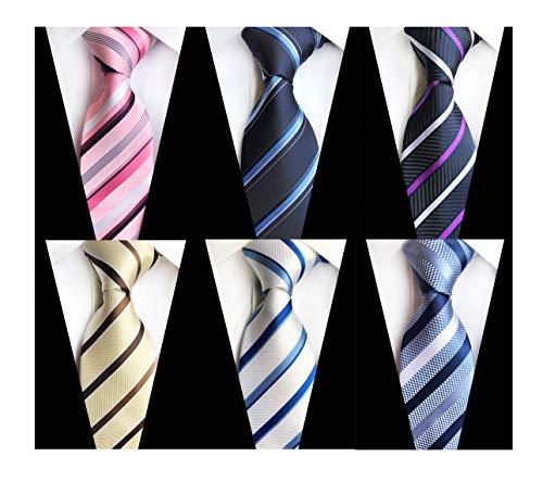 Men's Boy Wave Striped Black Blue Silk Tie Jacquard Woven Formal Meeting Necktie Pink Naavy Blue Champagne White