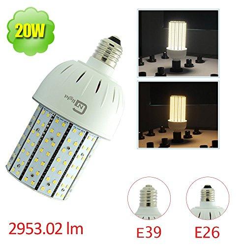 White Compact Bollards - NUOGUAN 20W LED Corn Bulb (150 Watt Replacement), Medium Edison Screw Base (E26), 6000K Cool White, Led Retrofit Lamp, for Bollard Post Top