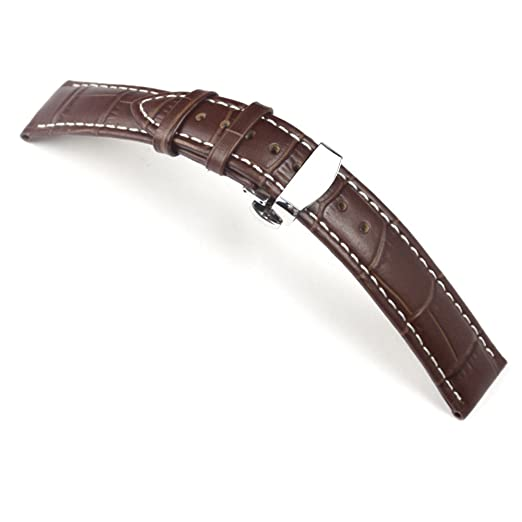 TStrap Genuine Leather Watch Band 18mm Brown Watch Strap w/ Stainless Steel Deployment Clasp Buckle | Amazon.com