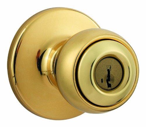 Kwikset featuring SmartKey Storeroom Vestibule Knob Feat in Polished Brass 450P 3 SMT 6AL ()