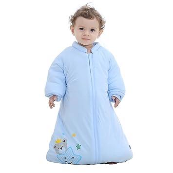 Baby Saco de repetición Saco de dormir de invierno manga larga oso de la suerte Saco de dormir infantil para Unisex pijama azul azul Talla:3-5Jahre alt: ...