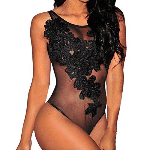 Suit Satin Floral Skirt (Sexy Lingerie for Women for Sex,Women's Lace Floral Deep V Lingerie Babydoll Mini Teddy One Piece Bodysuit (S, Black))