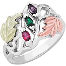 Black Hills Gold Silver Mother's Ring - 6 stones - MR928