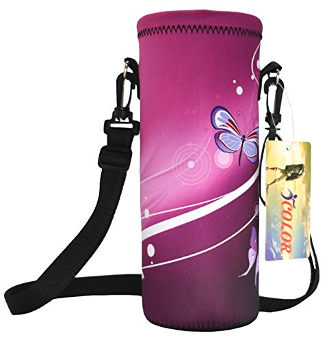 iColor Water Bottle Carrier 18 Oz (500 ml) Neoprene Wine Tea Bottle Sleeve Holder Sling Insulated Outdoor Sports Camping Travel Cross-Body Shoulder Bag Case Pouch Cover (Bottle Carrier Water Plastic)