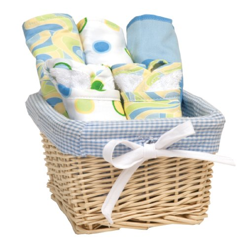 Trend Lab Dr. Seuss Bib and Burp Cloth Basket Gift Set, Blue Oh, The Places You'll Go!, 7 Piece