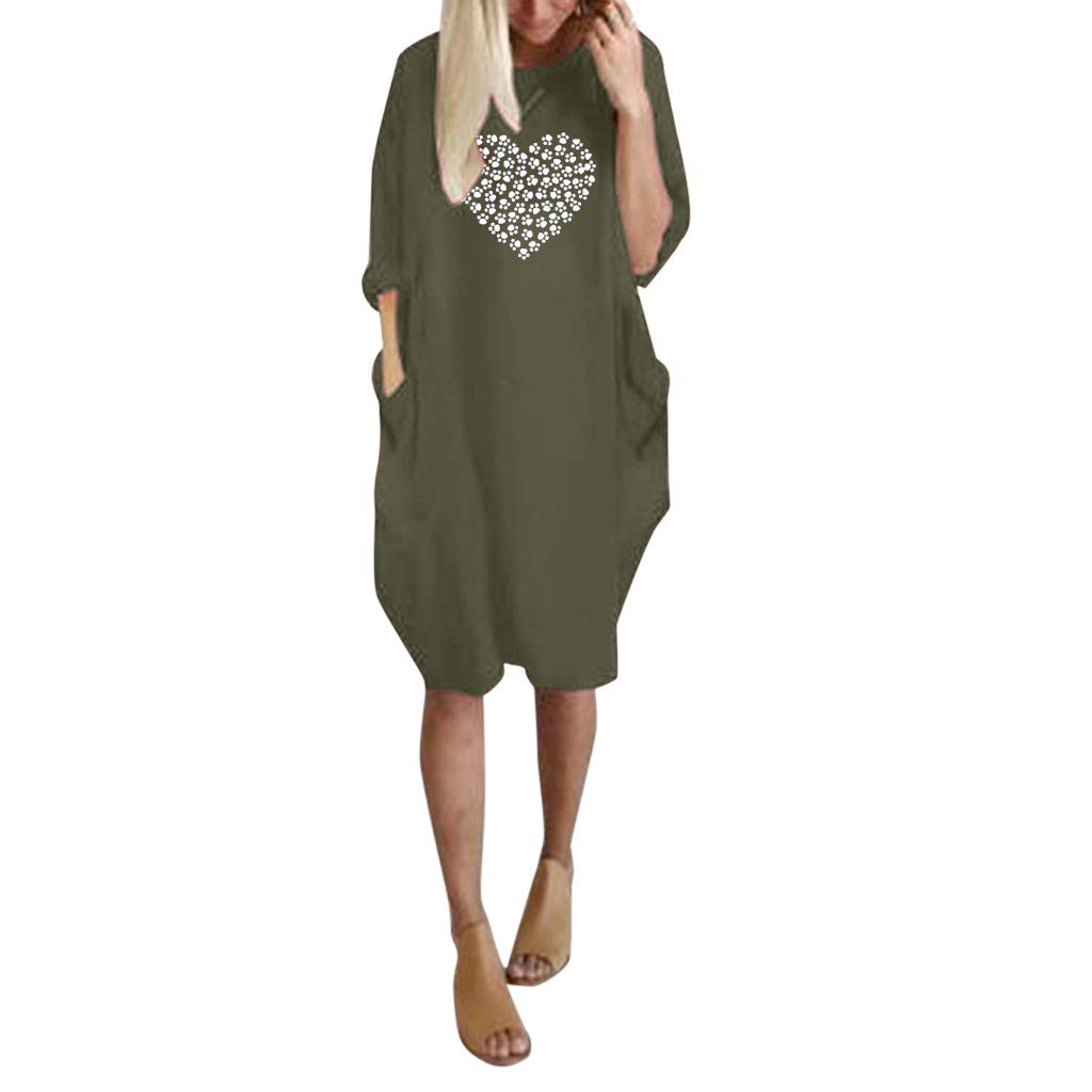 Casual Plus Size Tunic Dress Riou Women Long Sleeve Dress Women Summer Long Sleeve Printed Short Mini Dress Suitable for Autumn Winter Daily Casual UK:6-16