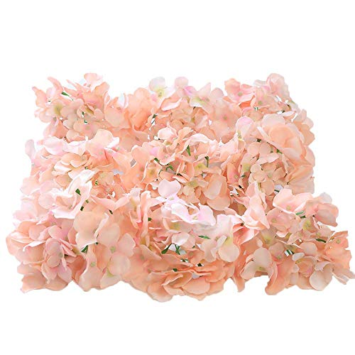 Luyue Silk Hydrangea Heads Artificial Decoration Flowers Garden Floral Decor,Pack of 10 (Pink)