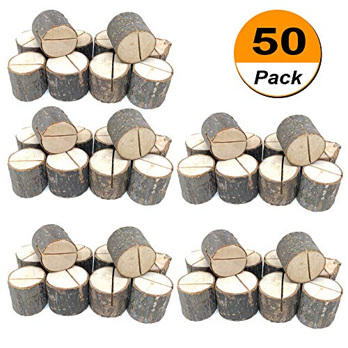 Wedding Place Wooden Card Holders Table Number Stands for Home Party Decorations. Pack of 50 (Card Christmas Holder Place Tree)