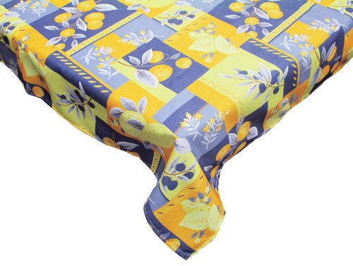 Waterproof Spill Proof Vinyl Printed Round Tablecloth, 60'',  Perfect for All Season, Indoor, Outdoor Picnics & Potlucks Party Party or Everyday Use-Lemons by J&M Home Fashions