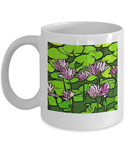 Flower Images On Coffee Mugs, Art Gift Cups With Water Lilies, Original Artwork Presents For Women, Artist Water Lily Mugs, Unique Original Art On A Cup, Flowering Garden Gift Ideas, 11 oz Ceramic Cup