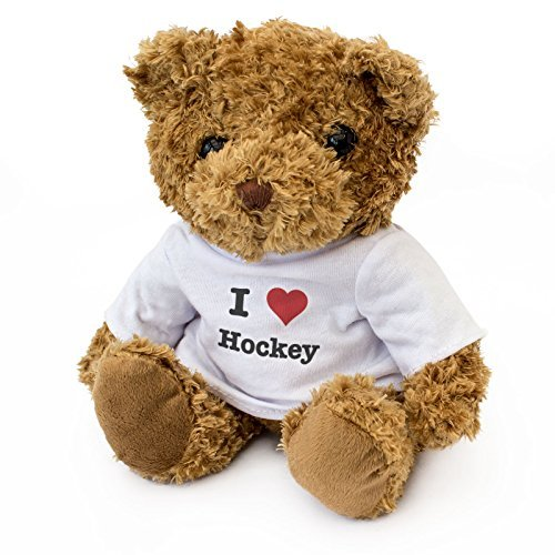 (NEW - I LOVE HOCKEY - Teddy Bear - Cute And Cuddly - Gift Present Birthday Xmas)