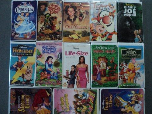 Disney 13 Pack VHS Movies, Walt Disney: Cinderella, Muppet Treasure Island, Old Yeller (Vault Collection), the Tigger Movie, Mighty Joe Young, Hercules-zero to Hero) (Happy Ever After - Non Disney), ()