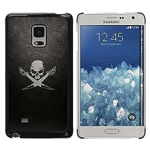 Be Good Phone Accessory // Dura Cáscara cubierta Protectora Caso Carcasa Funda de Protección para Samsung Galaxy Mega 5.8 9150 9152 // Leather Black Sea Ship Flag Skull