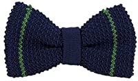 Dark Blue/Emerald Green Micro Bar Striped Pre-Tied Silk Bow Tie by 40 Colori