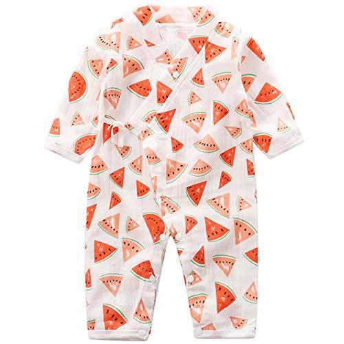 Baby Kimono Romper Cotton Yarn Robe Newborn Infant Bodysuit Summer Japanese Pajamas (0-3M, Watermelon)