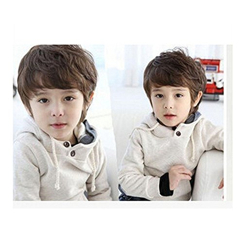 Spritech TM Pretty Boy Prince Stylish Deep Brown Fluffy Realistic Short Wavy Curly Hair Wig Fiber Synthetic Wig for 3-8 Years Old (Shoulder Deep Brown Bags)