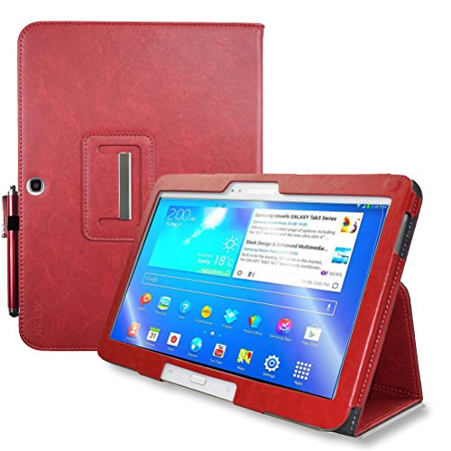 KUESN Samsung Galaxy Tab 4 10.1 SM-T530 T531 Book Cover Case And Tab 3 10.1 GT-P5200 P5210 Tablet Folio Flip Book Cover Case With Magnet Closured (Red)