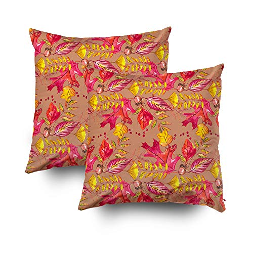 My Pillow Covers,Seamless pattern with acorns and autumn oak leaves in Orange Beige Brown and Yellow Perfect for wallpaper gift paper pattern fills web page background autumn greeting cardsCapsceoll T (Borders Page Autumn)