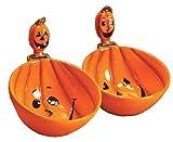 Pumpkin Jack O Lantern Halloween Dip Bowl and Spreader 4 Piece Set