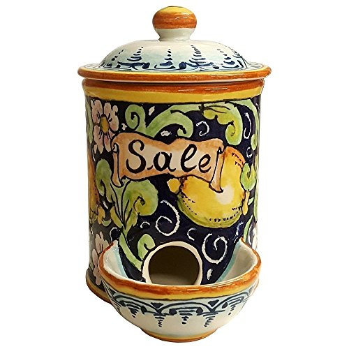(CERAMICHE D'ARTE PARRINI- Italian Ceramic Jar Salt Holder Hand Painted Made in ITALY Tuscan Art Pottery)