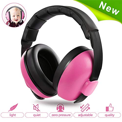 Baby Ear Protection,Noise Cancelling Headphones for Kids for 0-3 Years Babies,Toddlers,Infant for Sleeping Airplane Concerts Theater Fireworks,Baby Earmuffs (Rosered)