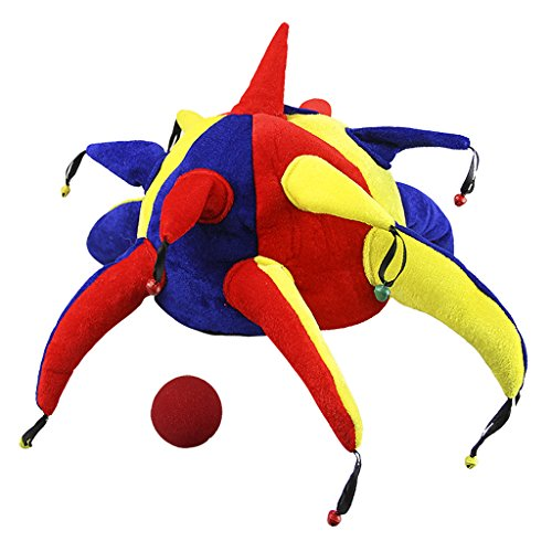 Adults Clown Costume Hats and Red Nose Set Funny Gag Gift Halloween Party Hat]()