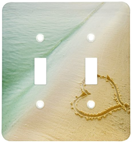 3dRose lsp_173299_2 Heart Shape Symbolizing Love, Heart Carved in Sand on The Beach Light Switch Cover by 3dRose