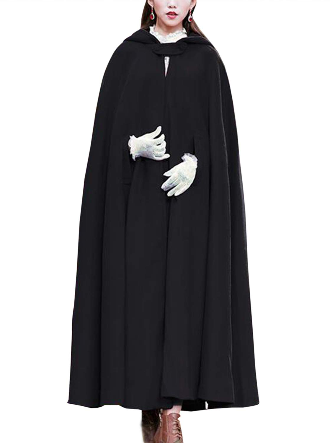 Gihuo Women's Wool Hooded Cape Solid Color Maxi Cloak Trench Coat (Black, One Size) by Gihuo