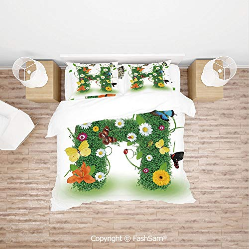 FashSam Duvet Cover 4 Pcs Comforter Cover Set Ornamental H with Summer Effects and Dahlia Ladybug Daisy Initials Artsy Concept for Boys Grils Kids(King)