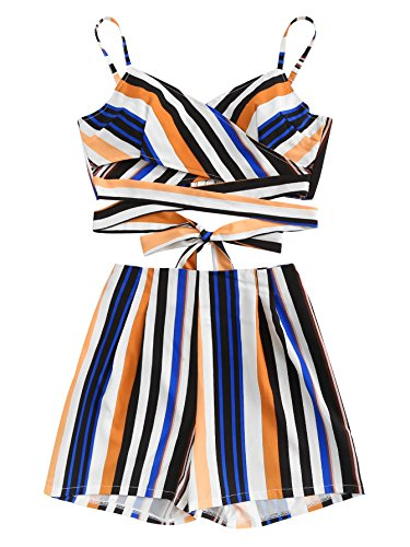 MAKEMECHIC Women's 2 Piece Outfit Summer Striped V Neck Crop Cami Top with Shorts Multi-3 XL