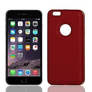 Delgado tope del metal de imitación de cuero cubierta de la caja roja Shell para el iPhone 6 Plus