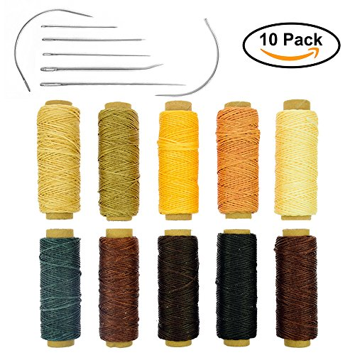 BIGTEDDY - 10 Colors 150D 1mm Hand Stitching Waxed Leather Thread Dreamcatcher DIY Supplies with 7 Needles Tools Set for Leathercraft Project Sewing Repair 50+ Yards Each Color