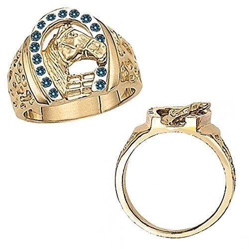 0.30 Carat Blue Diamond Fancy Horseshoe Horse Head Novelty Men's Man Designer Ring 14K Yellow (0.30 Ct Marquise Diamond)