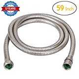 HOMEIDEAS Flexible Shower Hose Stretch 59-Inch to 79-Inch Stainless Steel Bathroom Toilet Shower Head Hose Handheld Showerhead Sprayer Extension Replacement,Brushed Nickel