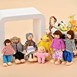 shaofu Wooden Doll House Family Set for Kid's Dollhouses - 7 People