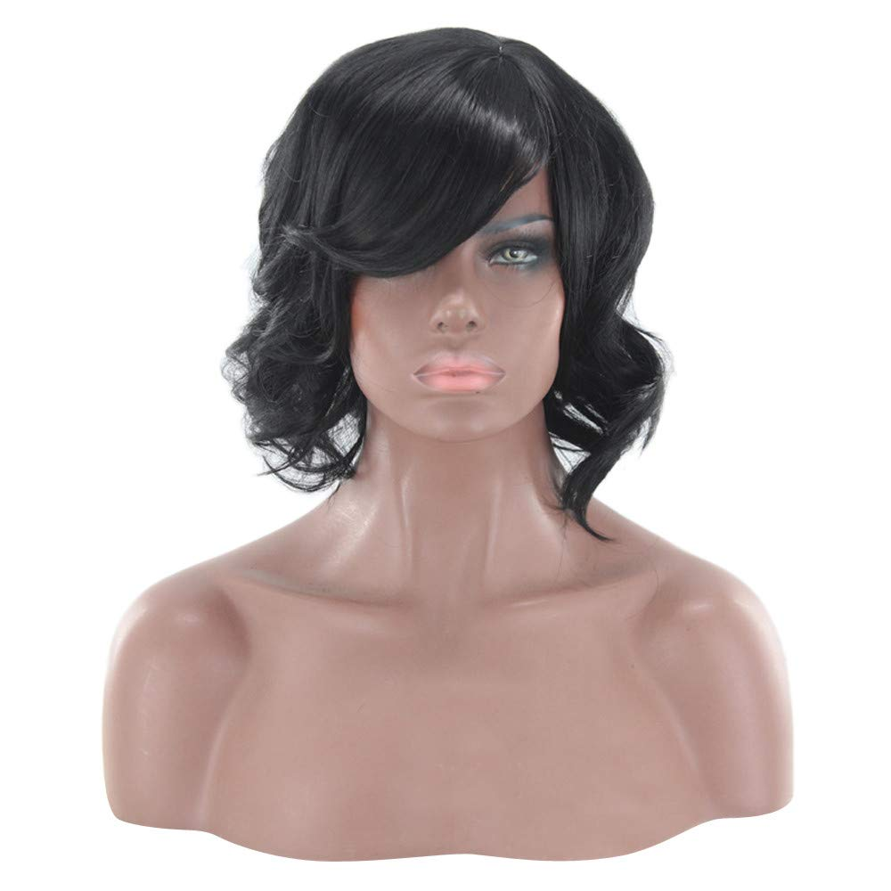 Nevera Brazilian Black Side Part Short Wave Curly Wigs for Black Women Cosplay Costume Party