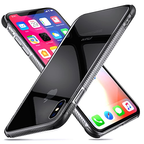 Guchoi Compatible iPhone X/iPhone Xs Case, Full Corners Protection Flexible TPU Anti-Slip Shockproof Protective Case Support Wireless Charging - Clear/Black