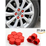 Tool Gadget 20-pcs Car Wheel 19mm Hub Lugs Nuts Bolts Silicone Cover - Super Sleek Cute Protective Cap Dust Protective Tyre Valve Screw Cap Cover -Red