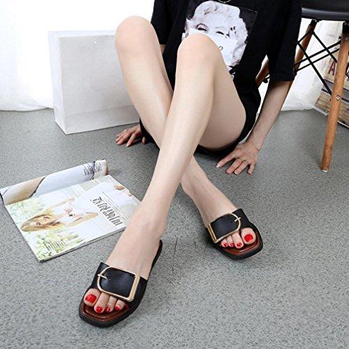 Elegant Woman Indoor Summer Outdoor Buckle Black Shoes Square HLHN Heel Anti Sexy Sandals Flat Skidding Slipper Beach 7Oq7wA6Zd